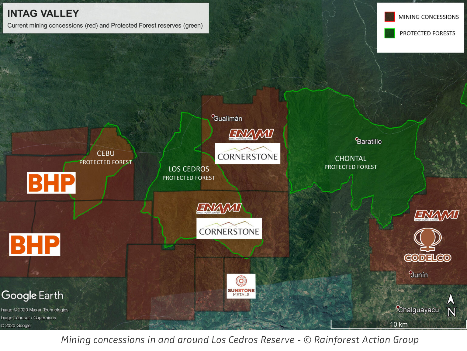 Mining concessions in and around Los Cedros Reserve