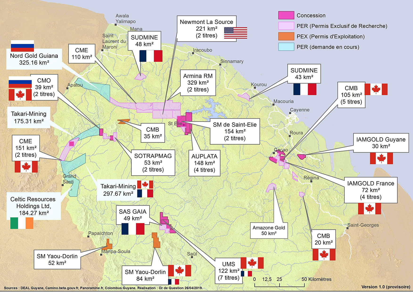 Carte Permis miniers Guyane