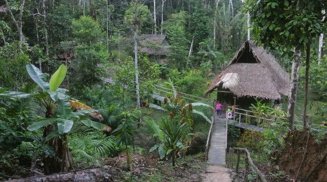 La végétation tropicale laisse apercevoir un petit hameau