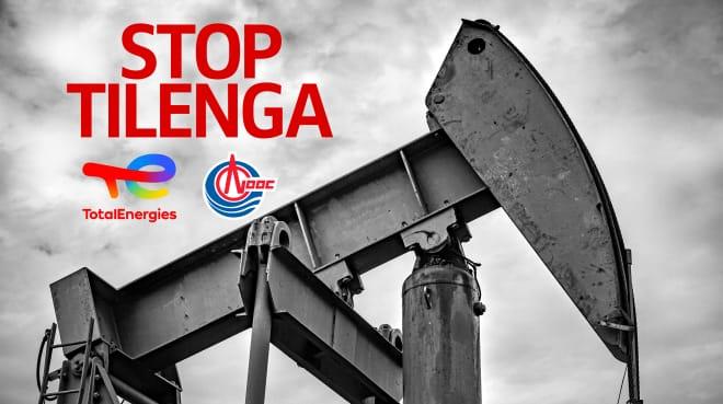 Stop au projet Tilenga en Uganda. Collage: puit de pétrole et logo de Total
