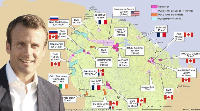 Photomontage : Emmanuel Macron avec en arrière plan la carte des permis miniers en Guyane française