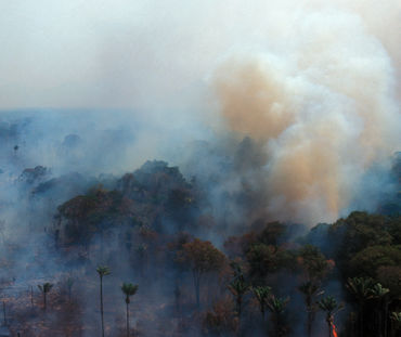 Vue aérienne de la combustion de la forêt amazonienne