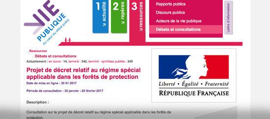 Page des Consultations publiques