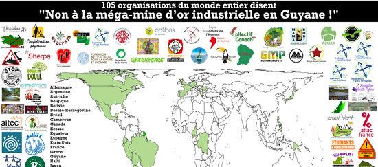 Carte du Monde localisant les 105 organisations s'opposant au projet de mine industrielle Montagne d'Or en Guyane